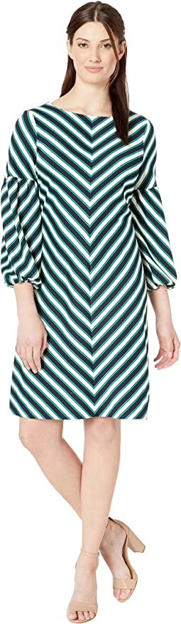 Balloon Sleeved Chevron Striped Knit Dress