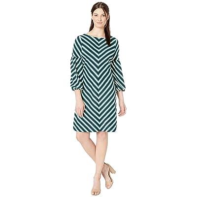 eci Balloon Sleeved Chevron Striped Knit Dress (Navy/Green) Women