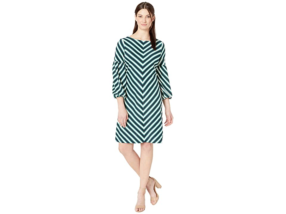 eci Balloon Sleeved Chevron Striped Knit Dress (Navy/Green) Women