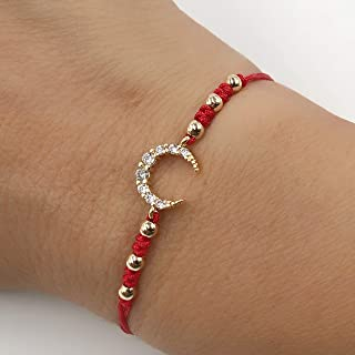 CZ Crescent Moon Red Thread Adjustable Fashion Bracelet for Women and Girls