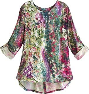 Women's Monet's Garden Tunic Top - 3/4 Sleeve Floral Print Shirt