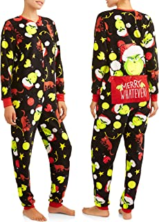 Women's Dr Seuss Grinch Junior Cut Onesie Union Suit with Drop Seat