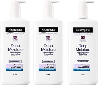 NEUTROGENA Norwegian Formula Deep Moisture Hypoallergenic Body Lotion (Pack of 3) For Dry Skin - (13.5oz or 400ml)