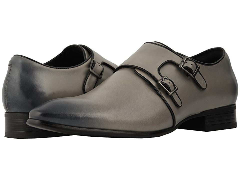Stacy Adams Vance Plain Toe Double Monkstrap (Gray/Black) Men