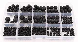 Lava Stone Beads Bulk - Lebeila 340 Black Gemstones Round Rock Loose Diffuser Stones Multi Sizes of 4, 6, 8, 10, 12mm Well Polished for Jewelry Making Charms Supplies, Bracelet, Necklace (340, Black)