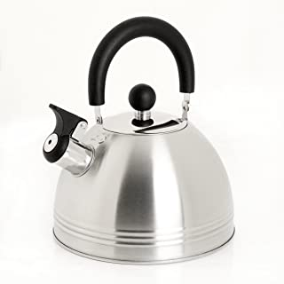 Mr. Coffee Carterton Stainless Steel Whistling Tea Kettle, 1.5-Quart, Mirror Polish