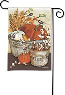 BreezeArt Studio M Farmhouse Pumpkins Fall Harvest Garden Flag - Premium Quality, 12.5 x 18 Inches