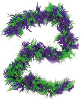 Fun Express Mardi Gras Feather Boa Green and Purple Mardi Gras Colors - 6 ft Boa