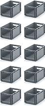 10x Euro Sichtlagerkasten 40 x 30 x 22 cm inkl. gratis Zollstock * Eurobehälter mit Fenster, 10er Set