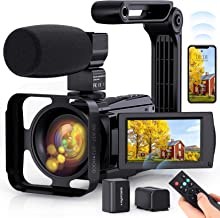 4K Video Camera WiFi Camcorder, Vlogging Camera 48MP 60FPS IR Night Vision IPS Touch Screen for YouTube, Digital Camera wi...