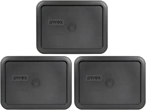 Pyrex 7210-PC Rectangle 3 Cup Charcoal Grey Storage Lid for Glass Dish - 3 Pack