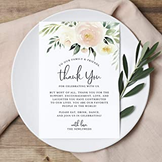 Bliss Collections Blush Floral Wedding Thank You Place Setting Cards, Print to Add to Your Table Centerpieces and Wedding Decorations, Pack of 50 4x6 Cards