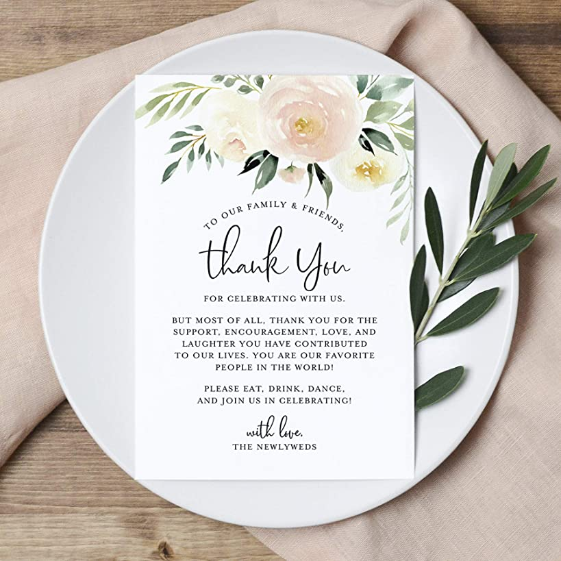 Blush Floral Wedding Thank You Place Setting Cards, 4x6 Print to add to your Table Centerpieces and Wedding Decorations —?Pack of 50