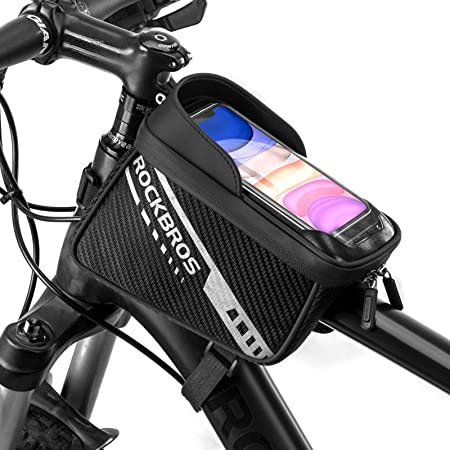 Mountain Bicycle Front Frame Double Pannier Bag Pack Cycling Bike Top Tube Bag with Reflective strips Roeam Cycling Frame Pannier