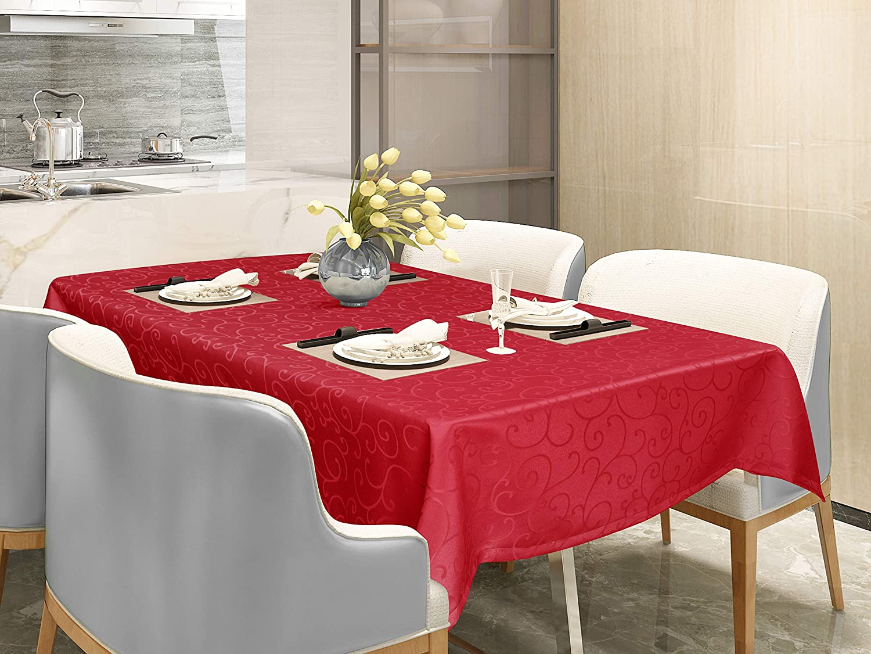 rectangulaire 110x140 cm Brun Fonc/é EUGAD 0154ZB Nappe damass/é Tissu de Table Ornements Design Dessus de Table imperm/éable avec Ourlet