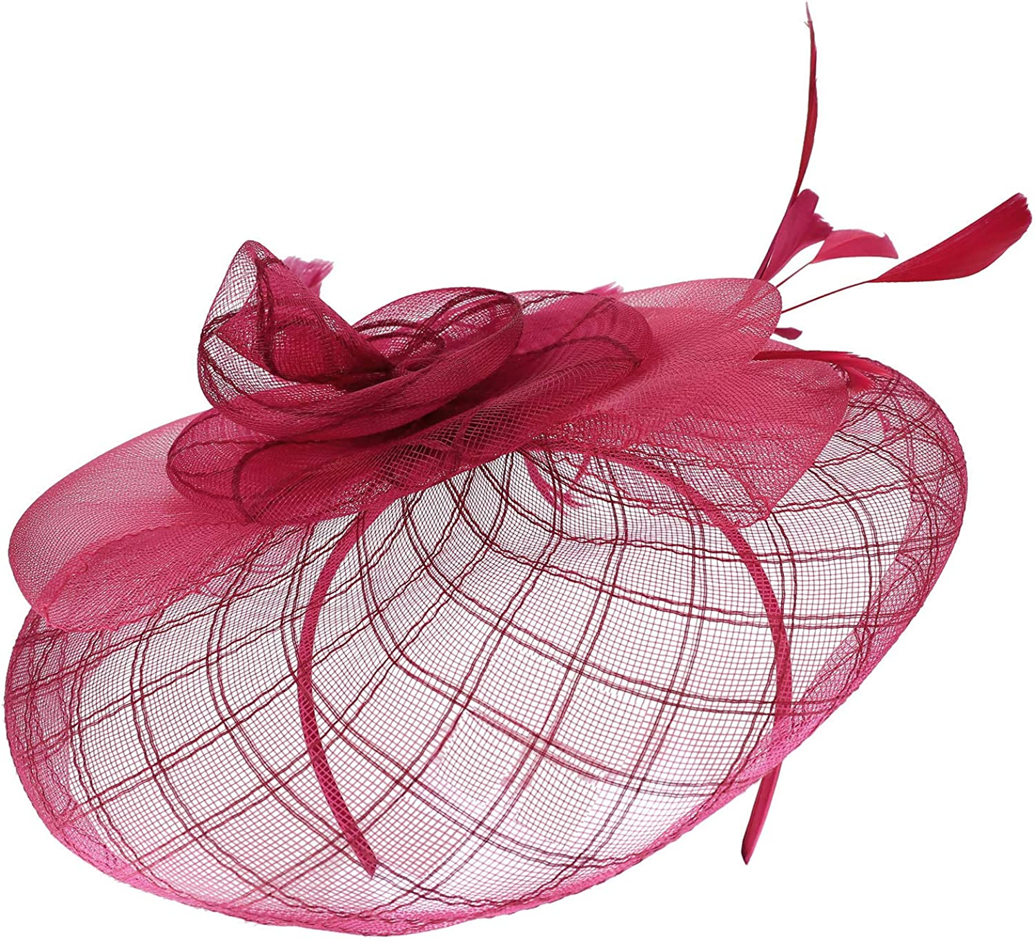 Trendy Apparel Shop Large Criss Cross Mesh Swirl Bow Fascinator with Feather