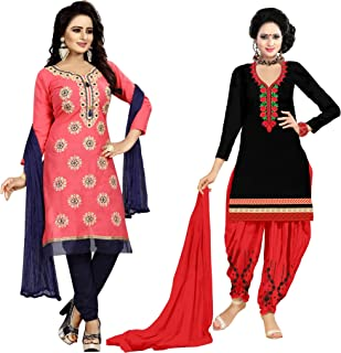 Samarth Enterprise Women's Straight Pink And Black Dress Material (Pack of 2) (Unstitched)