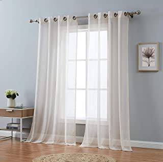 Red Co. Semi Sheer Beige Curtains with Grommets - 2 Panel Set - 108 Inches Wide Total Size (54 inch Each) - 84 Inches Long
