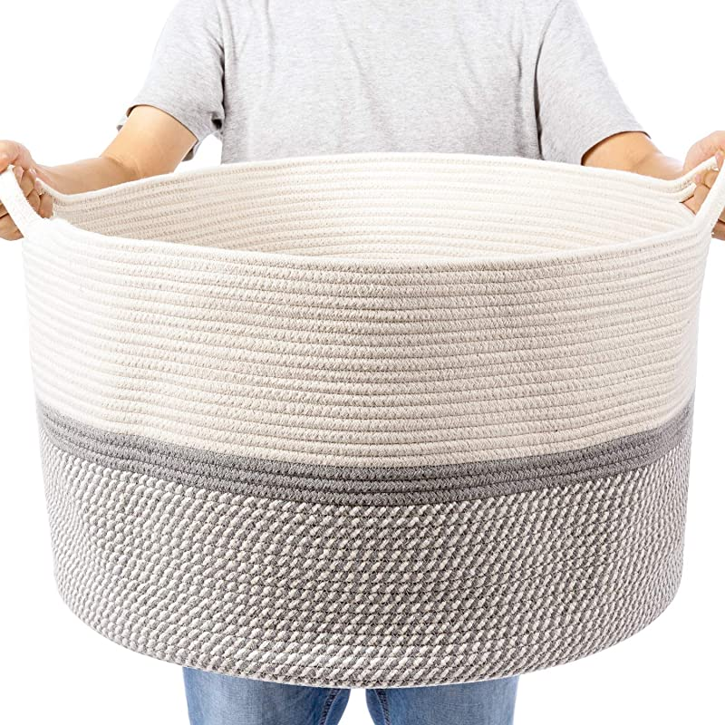 XXL Extra Large Cotton Rope Woven Basket Throw Blanket Storage Basket With Handles Decorative Clothes Hamper 22 X 22 X 14