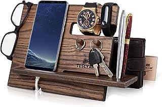 TESLYAR Wood Phone Docking Station Ash Key Hooks Holder Wallet Stand Watch Organizer Men Gift Husband Anniversary Birthday...
