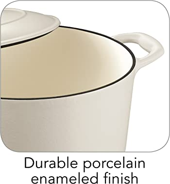 Tramontina Covered Round Dutch Oven, Enameled Cast Iron 5.5-Quart Matte White, 80131/035DS
