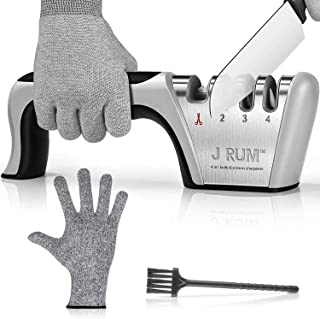 J RUM™ kitchen Knife Sharpener Scissor Sharpening 4 in 1 tool, Stainless Steel, Non-slip Base and Ergonomic Design with Cu...