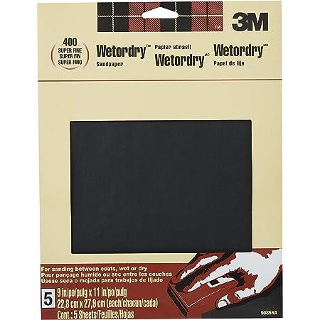 3M Wetordry Sandpaper, 9-in by 11-in, Super Fine 400 Grit, 5-Sheets (9085NA)