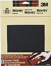 3M Lixa Wetordry, 22,86 cm x 28,94 cm, grão 400 superfino, 5 folhas (9085NA)