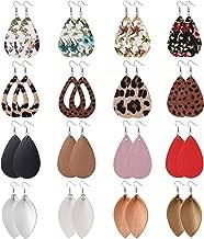 Finrezio 16 Pairs Leather Earrings for Women Girls Teardrop Leaf Flower Leopard Print Petal Drop Earrings Antique Lightweight Leather Earring Set