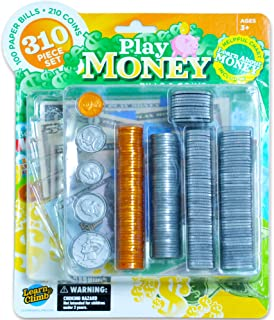 Learn & Climb Play Money Set for Kids - Fake Bills & Coins - 310 Pieces
