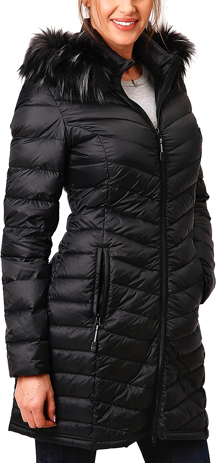 Roper Women's Quilted Lightweight Down Long Jacket Black (XSmall)