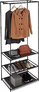 Relaxdays 10027467_46 Portant vêtement métal et Tissu, 3 étagères Chaussures Penderie, Tringle, 179,5 x 72 x 48 cm, Couleu...