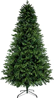 LUTER 7.5 Ft Artificial Christmas Tree Spruce Hinged Xmas Tree 1250 Branch Tips for Indoor Outdoor Holiday Decoration Easy Assembling with Solid Christmas Tree Metal Stand (Green)