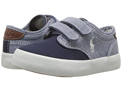 Polo Ralph Lauren Kids Luwes EZ (Toddler) (Blue Chambray/Navy Canvas/White Pony Player) Boy