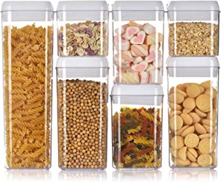 Airtight Food Storage Container Set Kitchen Pantry Organization with Easy Lock Lids Stackable BPA Free Plastic Canisters f...