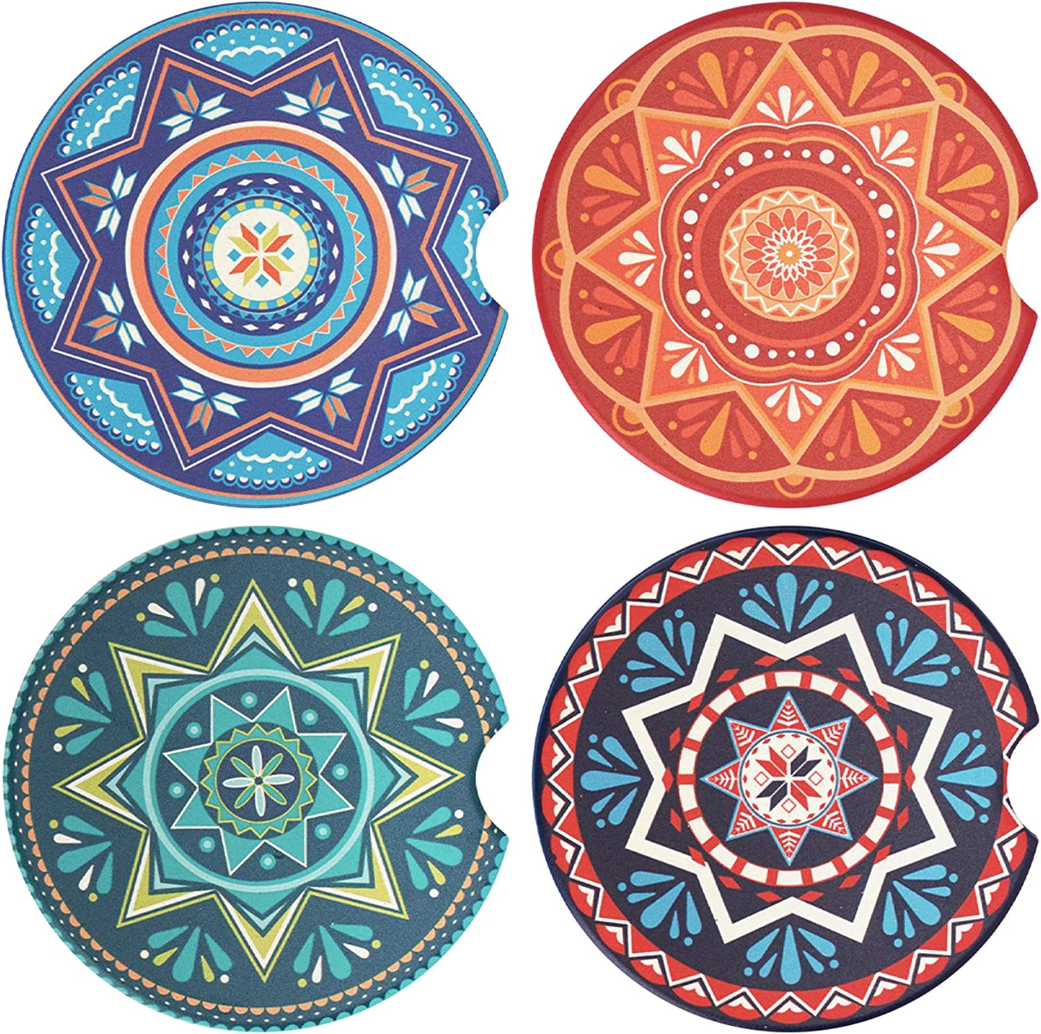 tifanso Atlanta Mall 4 Pack New product type Car Coasters Coa Cup Ceramic Absorbent Holder