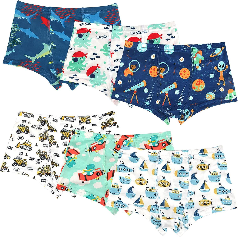 Aly Nova Boys' Boxer Briefs Kids Underwear Soft 100% Cotton Toddler Undies Pack of 6