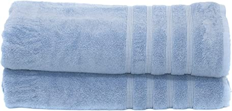Mosobam 700 GSM Luxury Bath Sheets, Set of 2 - Allure Blue - 35X70 inch - Bamboo & Turkish Cotton, Resort Style, Hotel Quality - Light Sea Glass Blue - Extra Large Body Sheet Towels - Plush & Fluffy