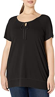 Just My Size Women's Plus-Size Chiffon Trim Tunic