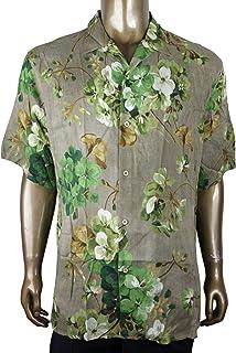 86c9a763c90 Gucci Men s Brown Viscose Green Bloom Geranium Print Shirt 401314 2389