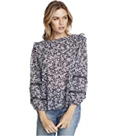 Long Sleeve Lace Inset Wildflower Bouquet Blouse