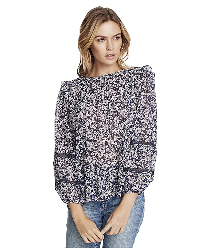 1.STATE  Long Sleeve Lace Inset Wildflower Bouquet Blouse (Moonshade Multi) Womens Clothing