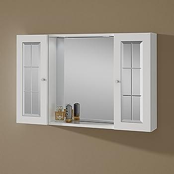 Specchio Bagno Contenitore.Specchio Bagno Contenitore Con Due Pensili E Luce Tiziana Amazon It Fai Da Te