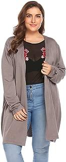 Zeagoo Women Lady Plus Size Autumn Winter Long Sleeve Open Front Knit Long Cardigan Sweater Drape 16W-24W/XL-5XL