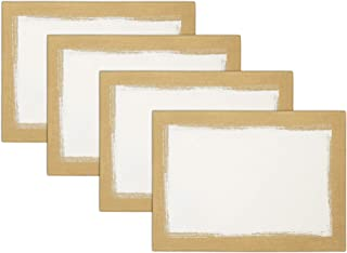 """Villeroy and Boch Metallic Brushstroke 14""""x20"""" Placemats, Set of 4, Ivory and Gold"""