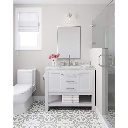 Amazon Com Ariel Bayhill 42 Inch Bathroom Vanity Base Only In White 2 Soft Closing Doors And 2 Dovetail Full Extensions Drawers Large Open Storage Space Brushed Nickel Hardware Kitchen Dining