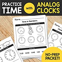 Practice Telling Time with Analog Clocks - NO PREP Packet - Animal Themed!
