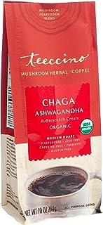 Teeccino Mushroom Adaptogen Coffee Alternative – Chaga Ashwagandha Butterscotch Cream – Caffeine-Free Mushroom Coffee with...