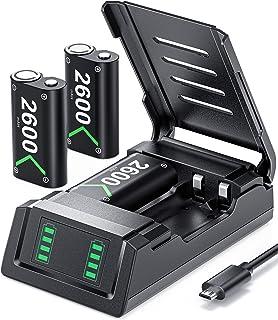 Pacote de bateria de substituição para Xbox One/Xbox Series X S, VOYEE 3 x 2600 mAh Bateria recarregável compatível com Xb...