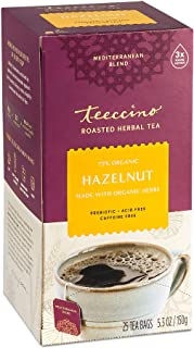 Teeccino Herbal Tea – Hazelnut – Rich & Roasted Herbal Tea That's Caffeine Free & Prebiotic for Natural Energy, 25 Tea Bags